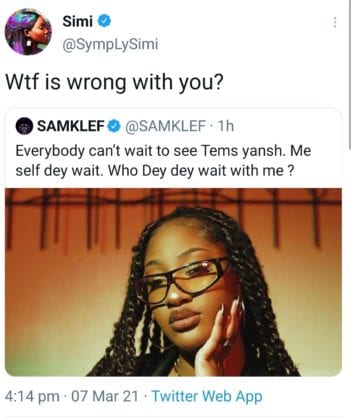 Simi Clashes With Samklef After He Sexualized Tems