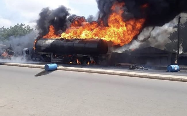 Five persons burnt to death in petrol tanker fire in Adamawa
