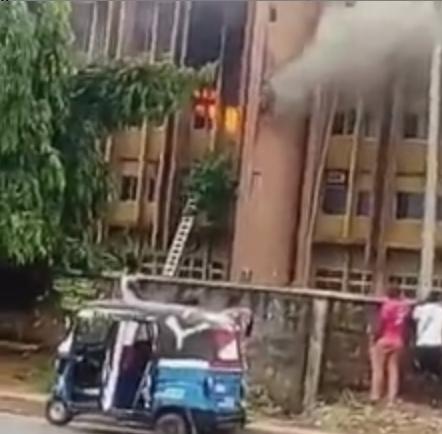 Fire breaks out in Federal Secretariat Asaba (video)