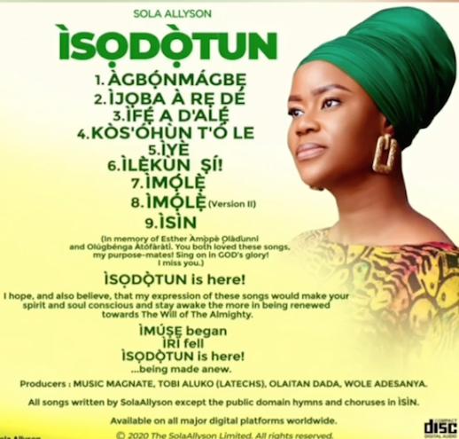 Sola Allyson - Isodotun Album tracklist
